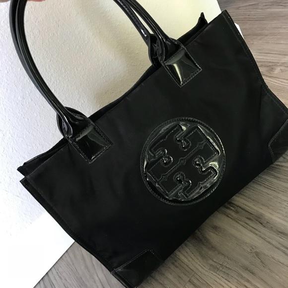 c157345f3d17 Tory Burch mini Ella tote black nylon and patent. M 5a8b3542b7f72b22918bb2f5
